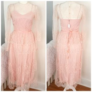 Vintage Handmade Lace Ruffle Midi Dress